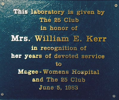 1983 Plaque Honoring Ann Kerr