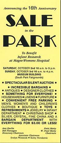 1991 Sale In The Park Sign